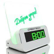 Часы будильник термометр Creotech, прозрачная доска для сообщений, зелёная подсветка