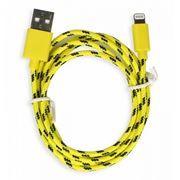 Кабель USB 2.0 Am=>Apple 8 pin Lightning, нейлон, 1.2 м, желтый, SmartBuy (iK-512n yellow)