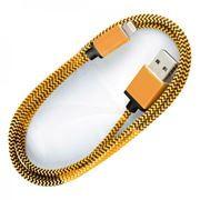 Кабель USB 2.0 Am=>Apple 8 pin Lightning, хлопок/металл, 1.2 м, золотой, SmartBuy (iK-512met gold)