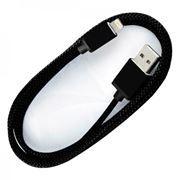Кабель USB 2.0 Am=>Apple 8 pin Lightning, хлопок/металл, 1.2 м, черный, SmartBuy (iK-512met black)