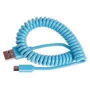 Кабель USB 2.0 Am=>micro B - 1.0 м, витой, голубой, Smartbuy (iK-12sp blue)