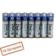 Батарейка AA DIALOG R6P-16S солевая, 16 шт, в термопленке