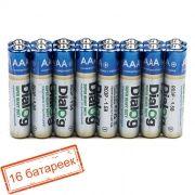 Батарейка AAA DIALOG R03P-16S солевая, 16 шт, в термопленке
