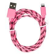Кабель USB 2.0 Am=>Apple 8 pin Lightning, нейлон, 1.2 м, розовый, SmartBuy (iK-512n pink)