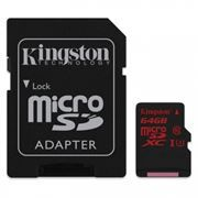 Карта памяти Micro SDXC 64Gb Kingston Class 10 UHS-I U3, 90/80 Мб/с + адаптер SD (SDCA3/64GB)