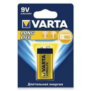 Батарейка 9V VARTA 6LR61/1BL Long Life, щелочная, в блистере (4122)