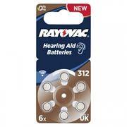 Батарейка Rayovac 312 для слуховых аппаратов, 6 шт, блистер