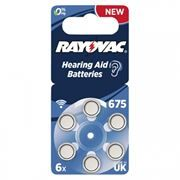 Батарейка Rayovac 675 для слуховых аппаратов, 6 шт, блистер