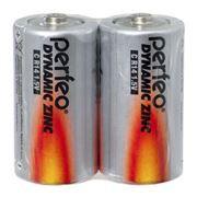 Батарейка C Perfeo Dynamic Zinc R14/2SH, солевая, 2 шт, термопленка