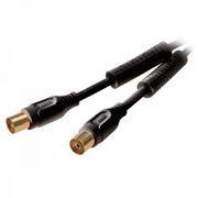 Кабель антенный TV (М) -> TV (F), 3 м, черный, феррит. фильтр + адаптер M-M, Premier (5-161F)