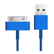 Кабель USB 2.0 Am=>Apple 30 pin, 1.2 м, голубой, SmartBuy (iK-412c blue)