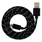 Кабель USB 2.0 Am=>micro B - 1.2 м, нейлон, черный, Smartbuy (iK-12n black)