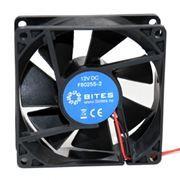 Вентилятор 80 x 80 x 25, 2 pin, 12V, втулка, кабель 15 см, 5bites (F8025-S2)