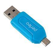 Карт-ридер внешний OTG micro USB/USB Perfeo PF-VI-O004, синий