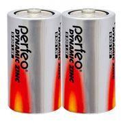 Батарейка D Perfeo Dynamic Zinc, R20/2SH, солевая, 2 шт, термопленка