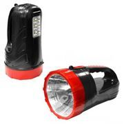 Фонарь-прожектор SmartBuy, аккумуляторный, зарядка 220В, черный, 3W+6 SMD (SBF-400-K)