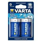 Батарейка D VARTA LR20/2BL High Energy, щелочная, 2 шт, в блистере (4920)