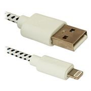 Кабель USB 2.0 Am=>Apple 8 pin Lightning, нейлон, 1 м, белый, Defender (ACH01-03T) (87471)