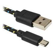 Кабель USB 2.0 Am=>micro B - 1.0 м, тканевая оплетка, черный, Defender (USB08-03T) (87474)