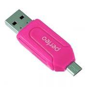 Карт-ридер внешний OTG micro USB/USB Perfeo PF-VI-O004, розовый