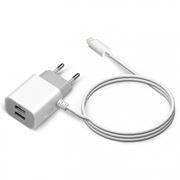Зарядное устройство Jet.A UC-I14 2.1А 2xUSB + Lightning 8pin для iPhone/iPad, белое