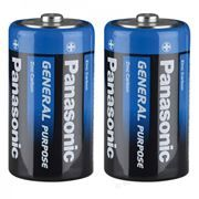 Батарейка D Panasonic General Purpose R20, солевая, 2 шт, термопленка