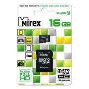Карта памяти Micro SDHC 16Gb Mirex Class 10 + адаптер SD (13613-AD10SD16)