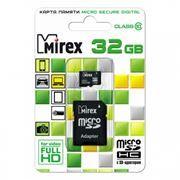 Карта памяти Micro SDHC 32Gb Mirex Class 10 + адаптер SD (13613-AD10SD32)