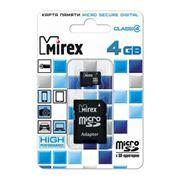 Карта памяти Micro SDHC 4Gb Mirex Class 4 + адаптер SD (13613-ADTMSD04)