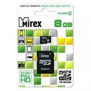 Карта памяти Micro SDHC 8Gb Mirex Class 10 + адаптер SD (13613-AD10SD08)