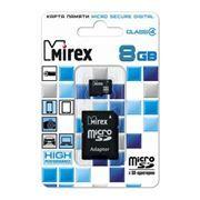 Карта памяти Micro SDHC 8Gb Mirex Class 4 + адаптер SD (13613-ADTMSD08)