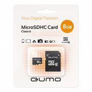 Карта памяти Micro SDHC 8Gb Qumo Class 6 + адаптер SD (QM8GMICSDHC6)