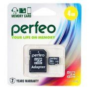 Карта памяти Micro SDHC 4Gb Perfeo Class 4 + адаптер SD (PF4GMCSH4A)