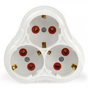 Переходник тройник SmartBuy, с заземлением, круглый, белый, 250В 16А (SBE-16-A01-3z)