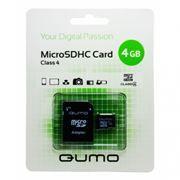 Карта памяти Micro SDHC 4Gb QUMO Class 4 + адаптер SD (QM4GMICSDHC4)