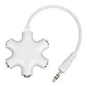 Адаптер аудио разветвитель 3.5 stereo plug -> 5x3.5 stereo jack, белый, Rexant (18-1108)
