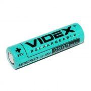 Аккумулятор 18650 VIDEX 2200мА/ч, незащищенный, без блистера (VID-18650-2.2-NP)