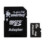 Карта памяти Micro SDXC 64Gb SmartBuy Class 4 + адаптер SD (SB64GBSDCL4-01)
