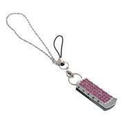 8Gb QUMO Charm Series Ice Crystal, Swarovski Elements, розовые кристаллы (QM8GUD-Charm-Ice)