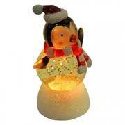 Сувенир ORIENT NY6009 Веселый пингвин, многоцветная подсветка, блестки, питание от USB