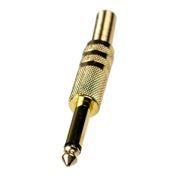 Штекер 6.3мм, моно, под пайку, на кабель, металлический корпус, позолоченный, Premier (1-104G)
