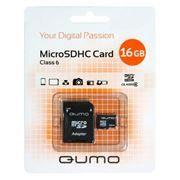 Карта памяти Micro SDHC 16Gb QUMO Class 6 + адаптер SD (QM16GMICSDHC6)