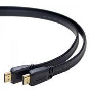 Кабель HDMI 19M-19M V1.4, 1.0 м, плоский, черный, позол. разъемы, Gembird/Cablexpert (CC-HDMI4F-1M)