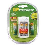 Зарядное устройство GP U211100/40SEFR-2CR4 + 2xAA 1000 мАч и 2xAAA 400 мАч, питание от USB