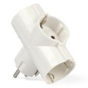 Переходник тройник SmartBuy, с заземлением, круглый, белый, 250В 16А (SBE-16-A03-3z)