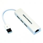 Адаптер USB Am - RJ45 10/100 Мбит/с + 3 порта USB2.0, KS-is (KS-311)