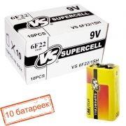 Батарейка 9V VS 6F22/1SH Supercell, солевая, термоплёнка, 10 шт, коробка