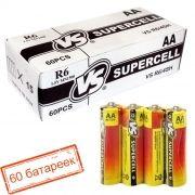 Батарейка AA VS R6/4SH Supercell, солевая, 60 шт, коробка