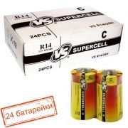 Батарейка C VS R14/2SH Supercell, солевая, термопленка, упаковка 24 шт