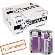 Батарейка C VS LR14/2SH Alkaline, термопленка, упаковка 12 шт